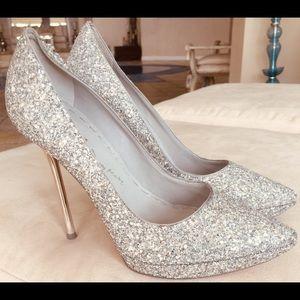 Alice & Olivia Silver Shinny Sparkle Heels